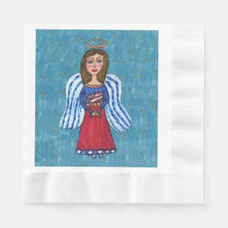 Ange patriotique de drapeau des Etats-Unis d'art Serviettes En Papier