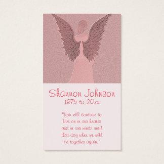 Ange rose commémoratif de la carte  
