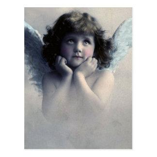 Ange vintage attrayant de Cheeked dans les nuages Carte Postale
