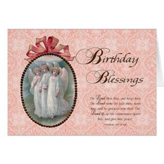 Anges de bénédictions d'anniversaire d'écriture carte