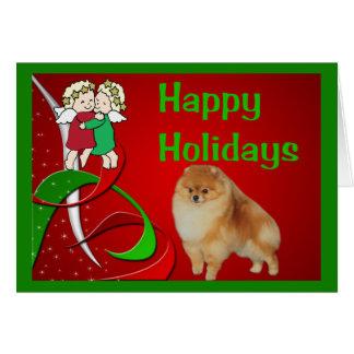 Anges de carte de Noël de Pomeranian