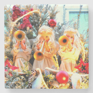 anges de Joyeux Noël annonçant Dessous-de-verre En Pierre