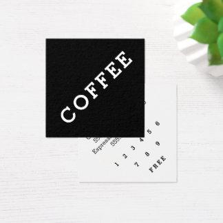 Carte De Visite Carré Angle foncé de carte perforée de café de fidélité
