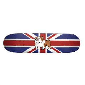 Animal familier de bande dessinée avec le drapeau plateaux de skateboards