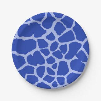 Animal sauvage de jungle de girafe bleue d'arrière assiettes en papier