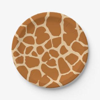 Animal sauvage de safari de jungle de girafe assiettes en papier