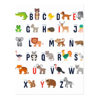 Animaux d'alphabet - mignon superbe ! carte postale
