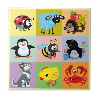 animaux de bande dessinée pour des enfants petit carreau carré