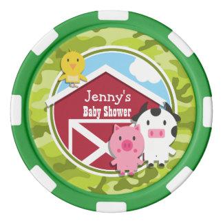 Animaux de ferme ; camo vert clair, camouflage rouleau de jetons de poker