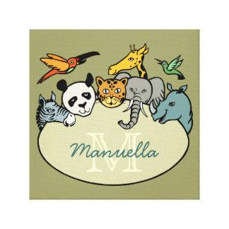 animaux de jungle de monogramme de zoo toiles