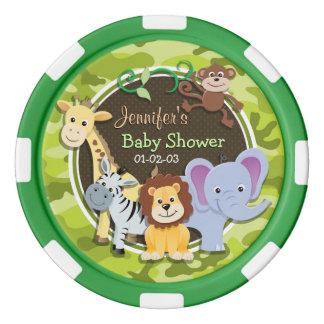 Animaux de zoo ; camo vert clair, camouflage rouleau de jetons de poker