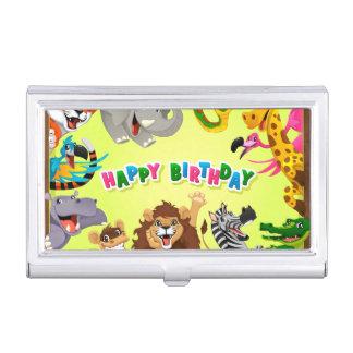 Animaux de zoo de joyeux anniversaire étui pour cartes de visite