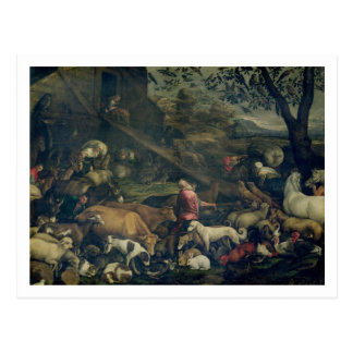 Animaux entrant dans l'arche (huile sur la toile) carte postale