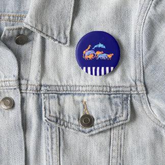 Animaux sauvages avec une frontière rayée pourpre badge rond 5 cm