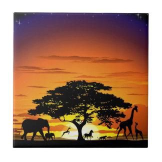 Animaux sauvages sur la tuile de coucher du soleil petit carreau carré