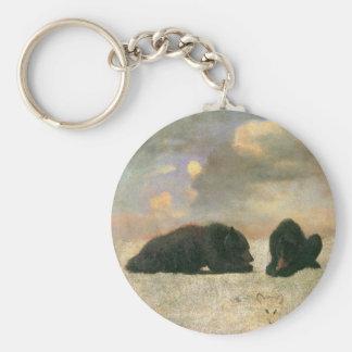 Animaux vintages, ours gris par Albert Bierstadt Porte-clés
