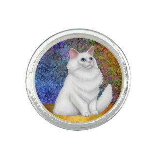 Anneau blanc d'argent de chat persan bagues