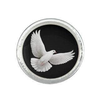 Anneau blanc volant de colombe de paix bagues
