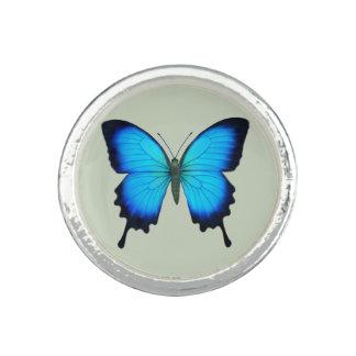 Anneau bleu de Sterling de papillon d'Ulysse Bague