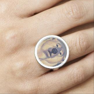Anneau de bijoux d'ours d'art de faune d'anneau bagues avec photo