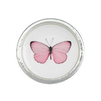 Anneau rose de papillon bagues avec photo