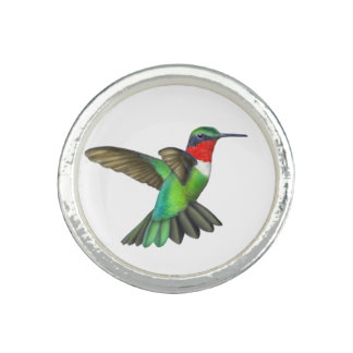 Anneau Throated rouge de colibri Bagues Avec Photo