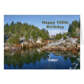 Anniversaire, 100th, lac mountain, carte de cygne