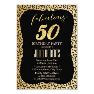 Anniversaire 50 fabuleux d'empreinte de léopard carton d'invitation  12,7 cm x 17,78 cm