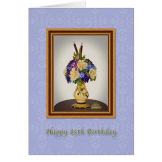 Anniversaire, 85th, fleurs dans la carte jaune de