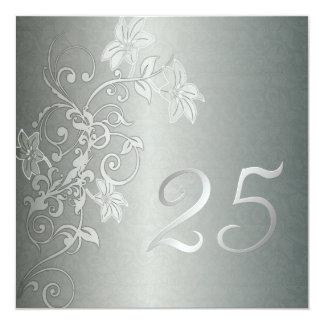 Anniversaire argenté 25 ans de talent de damassé carton d'invitation  13,33 cm