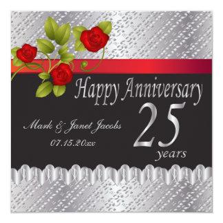 Anniversaire argenté heureux | 25 ans carton d'invitation  13,33 cm