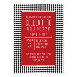 Anniversaire blanc et rouge noir de pied-de-poule carton d'invitation  12,7 cm x 17,78 cm