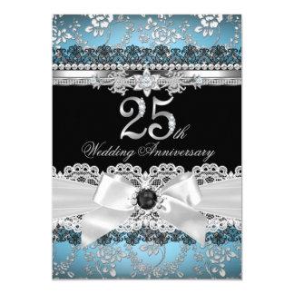 Anniversaire de bleu d'argent d'arc de dentelle et carton d'invitation  12,7 cm x 17,78 cm