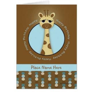 Anniversaire de girafe carte de vœux
