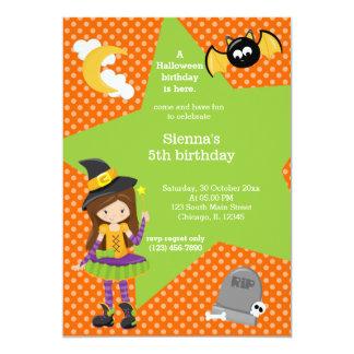Anniversaire de Halloween de sorcière Carton D'invitation 12,7 Cm X 17,78 Cm