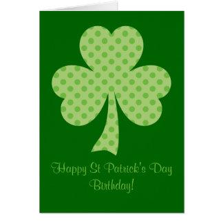 Anniversaire de Jour de la Saint Patrick de pois Carte
