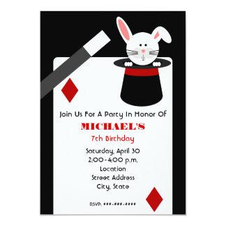 Anniversaire de magicien - lapin dans le chapeau carton d'invitation  12,7 cm x 17,78 cm