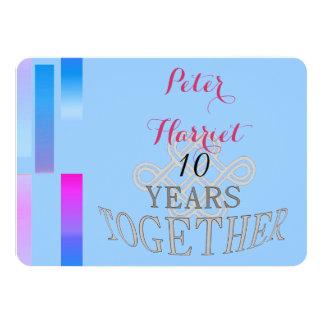 Anniversaire de mariage 10 carton d'invitation  11,43 cm x 15,87 cm