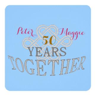 Anniversaire de mariage 50 carton d'invitation  13,33 cm