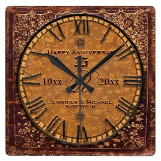 Anniversaire de mariage antique vintage horloge carrée