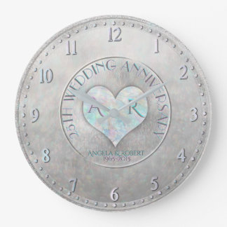 Anniversaire de mariage argenté de monogramme de grande horloge ronde