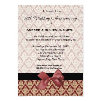 Anniversaire de mariage de damassé cinquantième carton d'invitation  12,7 cm x 17,78 cm