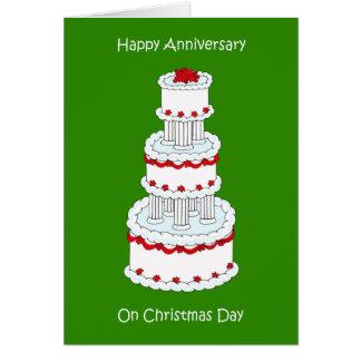 Anniversaire de mariage de jour de Noël, le 25 Carte De Vœux