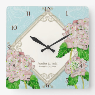 Anniversaire de mariage d'hortensia de rose de horloge carrée