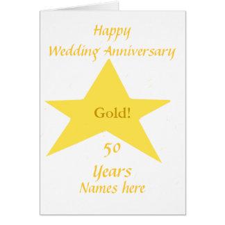 Anniversaire de mariage d'or 50 ans d'avant de carte de vœux