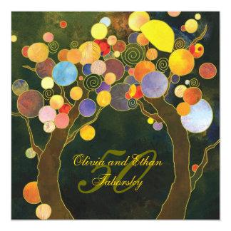 Anniversaire de mariage d'or d'arbres d'amour carton d'invitation  13,33 cm