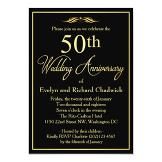 Anniversaire de mariage d'or élégant carton d'invitation  12,7 cm x 17,78 cm
