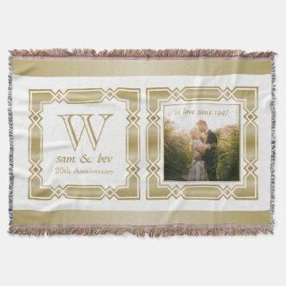 Anniversaire de mariage élégant de photo de couvre pied de lit