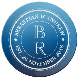 Anniversaire de mariage gai bleu d'Ombre de logo Assiette En Porcelaine