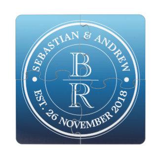 Anniversaire de mariage gai bleu d'Ombre de logo Dessous De Verre Puzzle